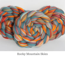 Load image into Gallery viewer, The Fibre Imp Merino Roving Braid in Rocky Mountain Skies