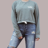 Embroidered Draw String Crewneck in Army