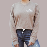 Embroidered Draw String Crewneck in Nude