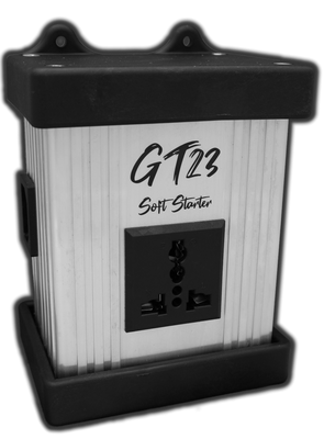 Innoraymond GT23 Soft Starter up to 15 amps. Built for nearly all countries using 220-240 volt, 50Hz grid power. 2 second software controlled ramp time. Wall mountable.