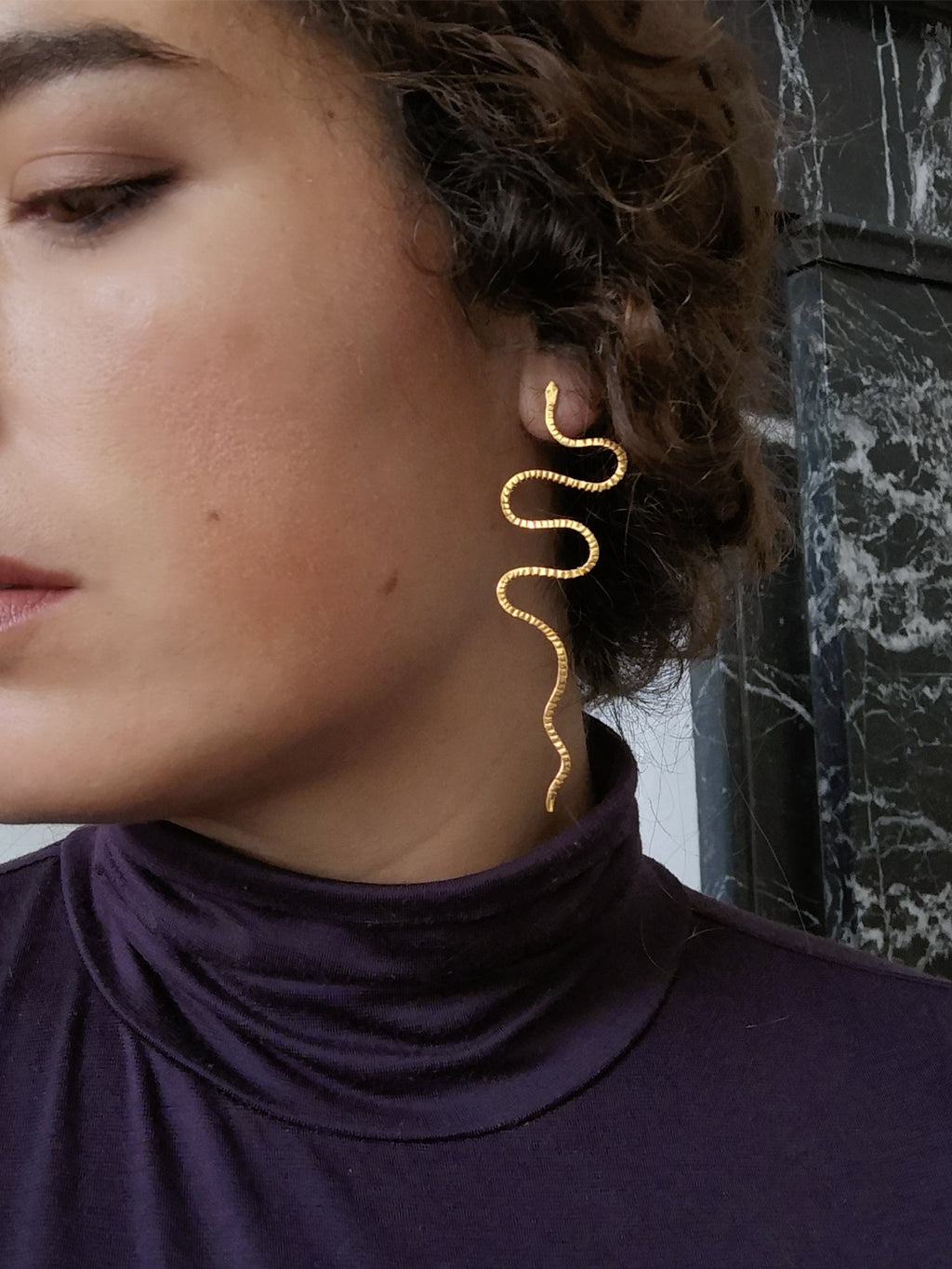 CERASTES LONG SNAKE EARRINGS