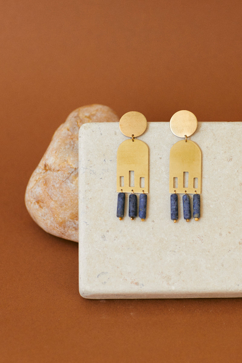 MARRAKECH & DUMORTIERITE STATEMENT EARRINGS