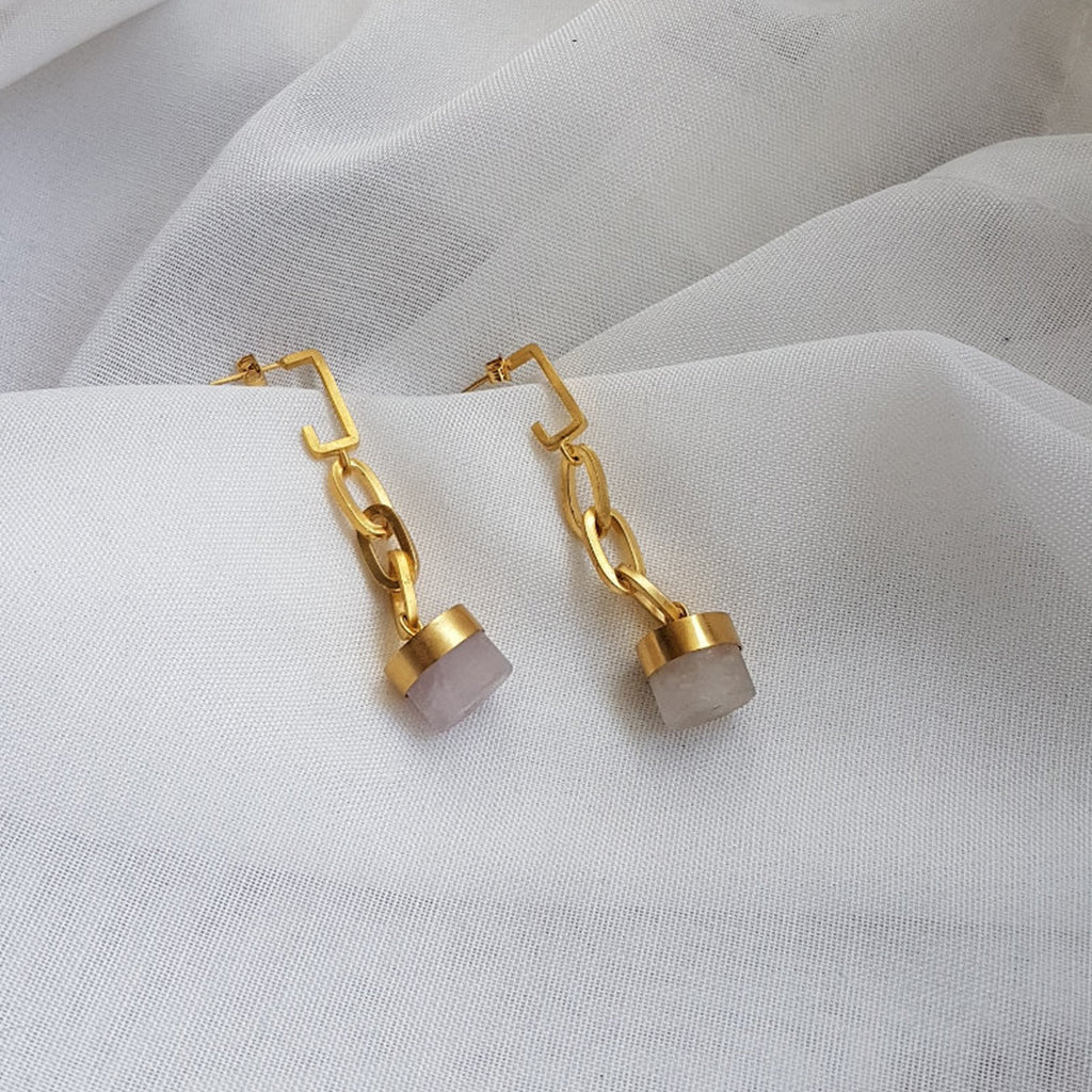 WHITE QUARTZ AND GOLD STATEMENT EARRINGS