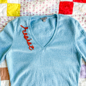 'Resist' Embroidered 100% Cashmere Sweater for Spread The Vote
