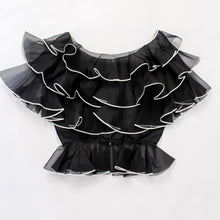 Load image into Gallery viewer, Black Ruffle Chiffon Peplum Blouse