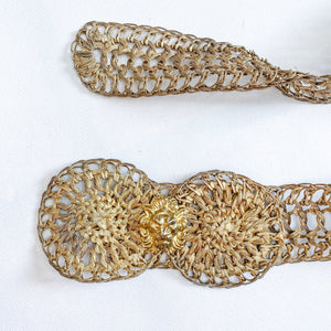Gold Mesh Grecian Lion Statement Belt