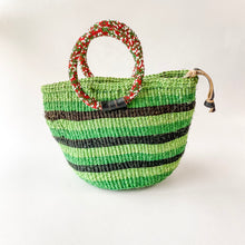 Load image into Gallery viewer, Green Striped Sisal Mini Bag