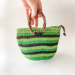 Green Striped Sisal Mini Bag
