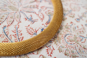 Gold Mesh Earrings & Necklace Set