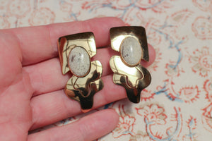 Abstract Gold & Stone Earrings