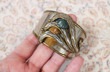 Load image into Gallery viewer, Brutalist Brass & Stone Cuff