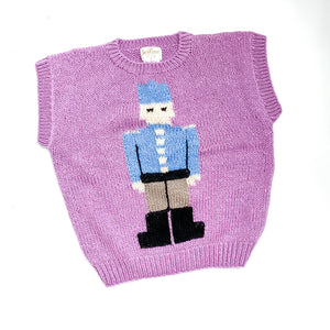 Purple Knit Toy Soldier Sweater Vest