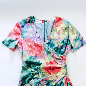 Watercolor Floral Silk Wrap Dress