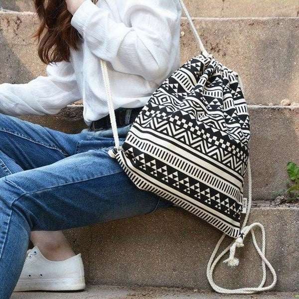 Canvas Drawstring Backpack - Trendy Bohemian