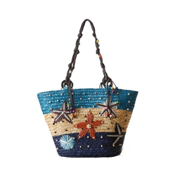 Hand Embroidered Starfish Straw Bag - Trendy Bohemian