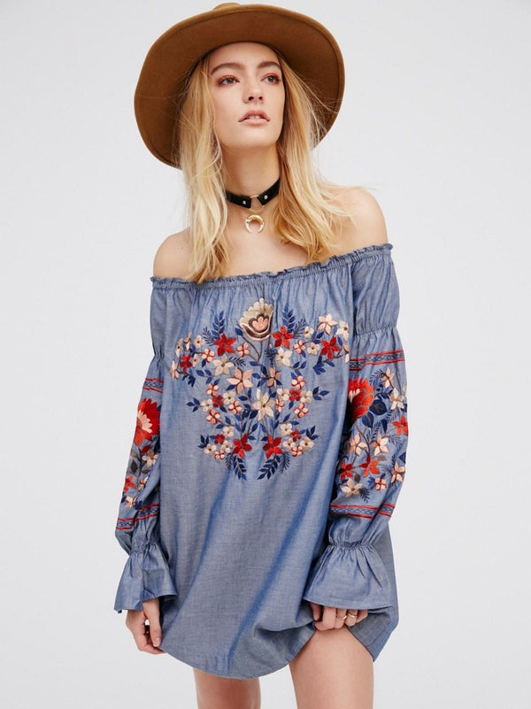 Embroidered Denim Dress - Trendy Bohemian