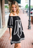 Off Shoulder Embroidery Vintage Tunic - Trendy Bohemian