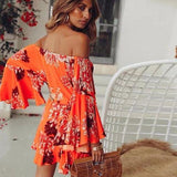Spanish Orange Off The Shoulder Romper - Trendy Bohemian
