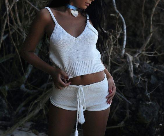 White Knitted Crop Top and Shorts - Trendy Bohemian