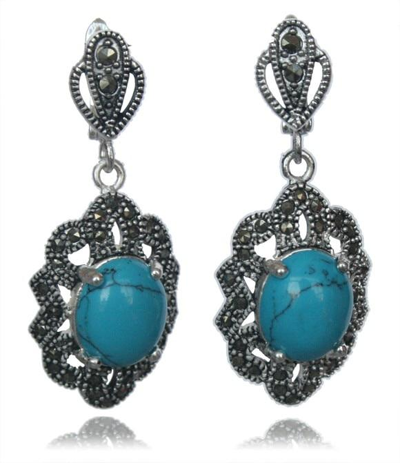 Vintage Blue Turquoise Earrings Set - Trendy Bohemian