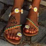 Bohemian Style Flower and Bead Sandals - Trendy Bohemian