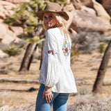 White Floral Embroidery Jacket - Trendy Bohemian
