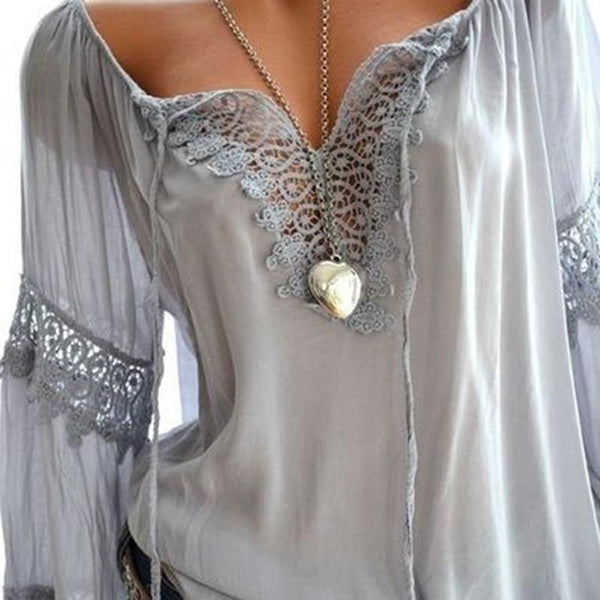 V-Neck Lace Blouse - Trendy Bohemian
