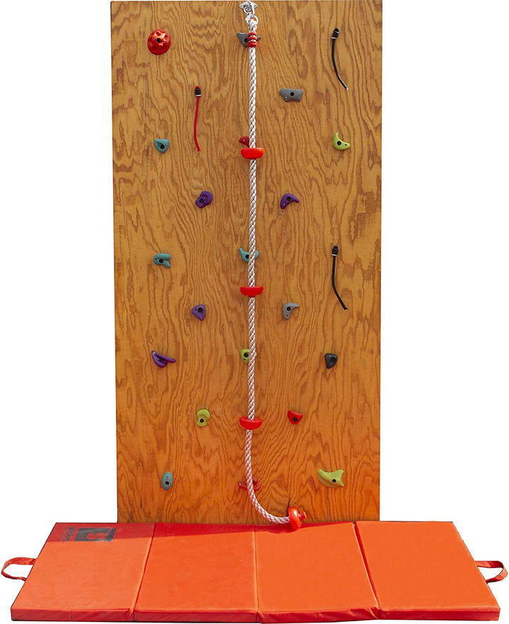 Slackers DIY Rock Climbing Wall Kit w/ Crash Pad & Climbing Rope | Rock Wall | Obstacle Course Wall | Rock Climbing Playset