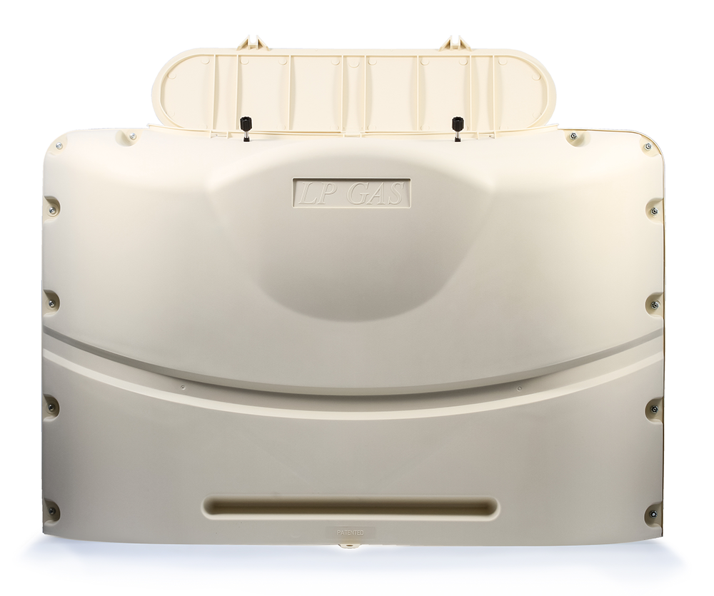 RV 20 Pound LP Gas Dual Tank Cover - Colonial White