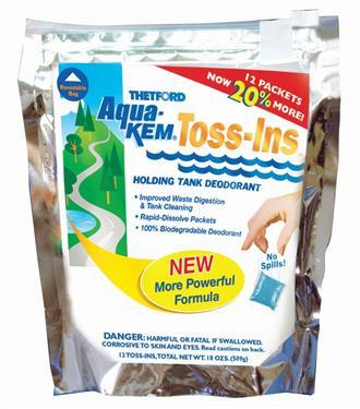 Aqua-Kem RV Toilet Toss-In Fresheners - 12 Per Bag - Powder Fresh Scent