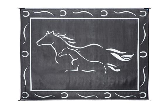 Galloping Horse Mat - 8' X 11' - Black/White