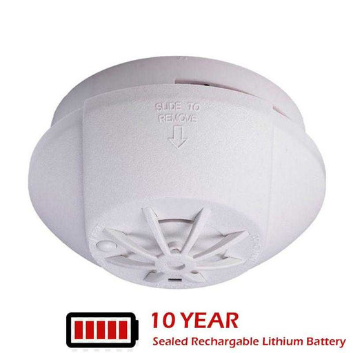 Hispec Interconnectable Fast Fix Mains Heat Detector with 10yr Sealed Rechargeable Lithium Battery Included