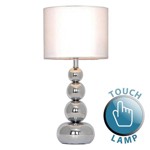 Marissa Chrome Touch Table Lamp White Shade