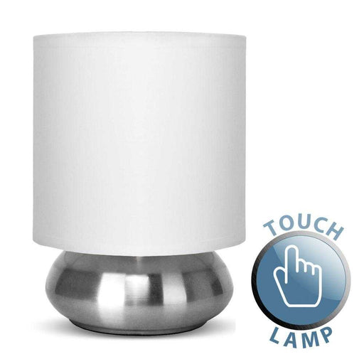 Satin Nickel Touch Table Lamp With White Shade