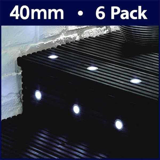 Pack Of 6 40mm White LED Decking Lights