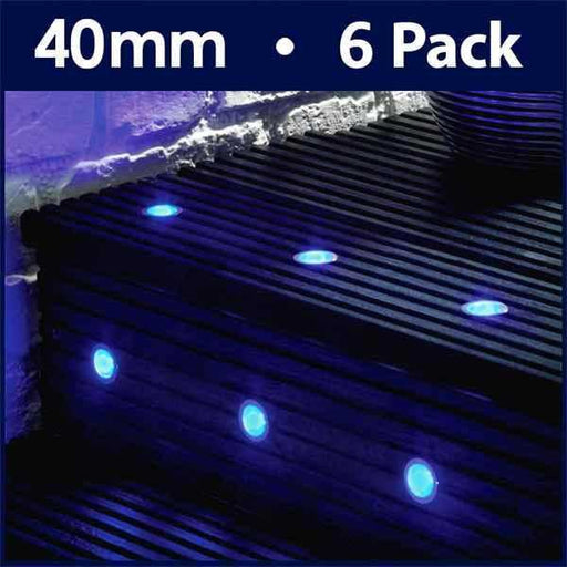 Pack Of 6 40mm Blue LED Decking Lights