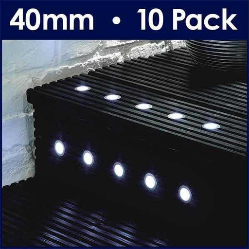 Pack Of 10 40mm White LED Decking Lights