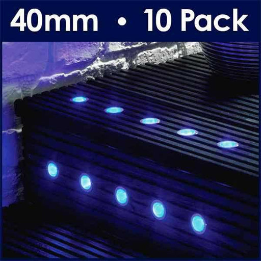 Pack Of 10 40mm Blue LED Decking Lights
