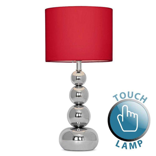 Marissa Chrome Touch Table Lamp Red Shade