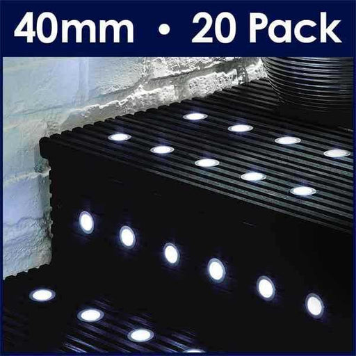 Pack Of 20 40mm White LED Decking Lights