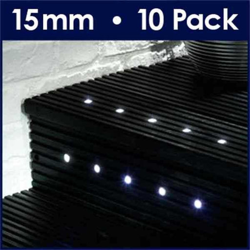Pack Of 10 15mm White LED Decking Lights