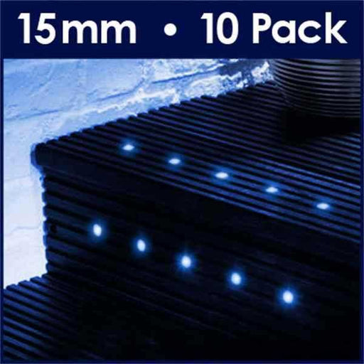 Pack Of 10 15mm Blue LED Decking Lights