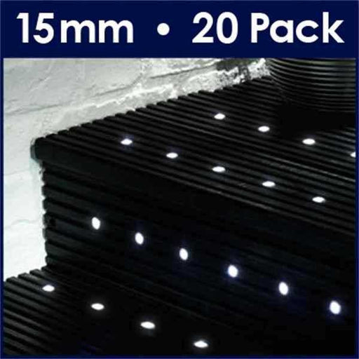 Pack Of 20 15mm White LED Decking Lights