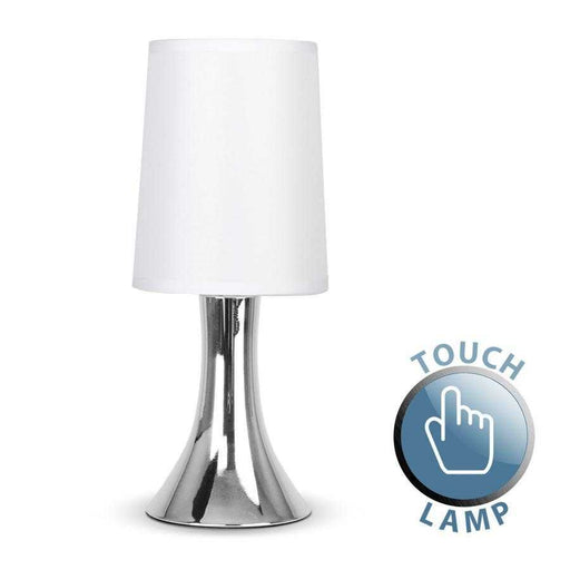Small Trumpet Touch Table Lamp Chrome / White