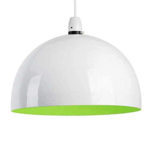Curva Non Electric Pendant White With Green Interior