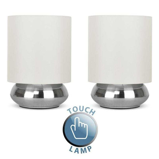 Minisun Trade Pair Of Satin Nickel Touch Table Lamps With Cream Shades 16917