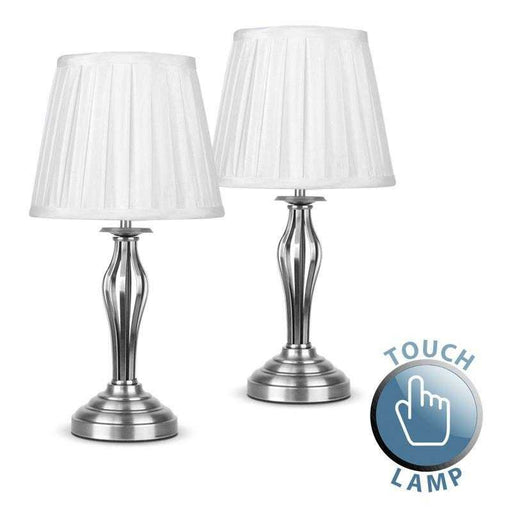 Pair Of Traditional Wrought Iron Touch Table Lamps Satin Nic