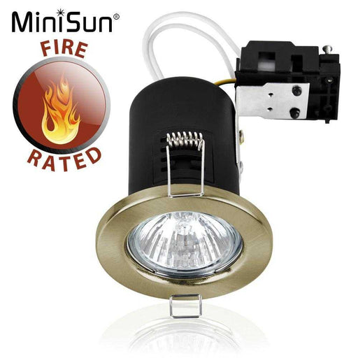 Fire Rated GU10 Downlight Antique Brassed NO BULB
