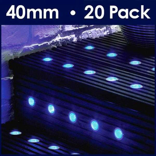 Pack Of 20 40mm Blue LED Decking Lights