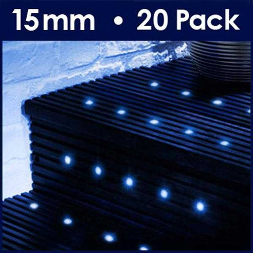 Pack Of 20 15mm Blue LED Decking Lights